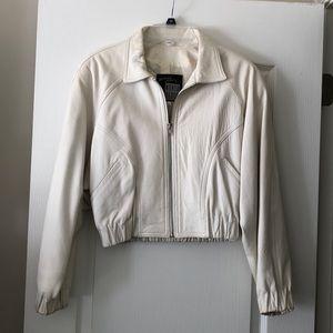 Vintage White Leather Bomber Jacket. Junior Sz 7/8